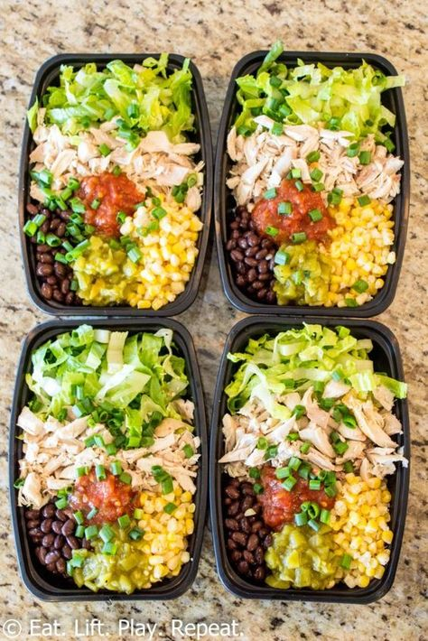 Meal prep burrito bowls make a great lunch to last the week, plus this version requires zero cooking! Have a healthy lunch ready for the week in 10 minutes!