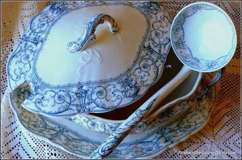 """Antique Victorian showstopper extra large lidded tureen set with a stand (also referred to as an underplate) and ladle by Doulton Burslem in exquisite dried lavender blue coloured """"Selborne"""" pattern made in England circa 1895. """"WOW factor"""" collectable china piece: stunning display item or simply could be used for direct serving purpose... still fit for that with 125 year history behind it."""