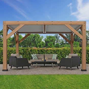13 X 11 Cedar Room With Aluminum Louvered Roof In 2020 Cedar Room Backyard Pavilion Pergola