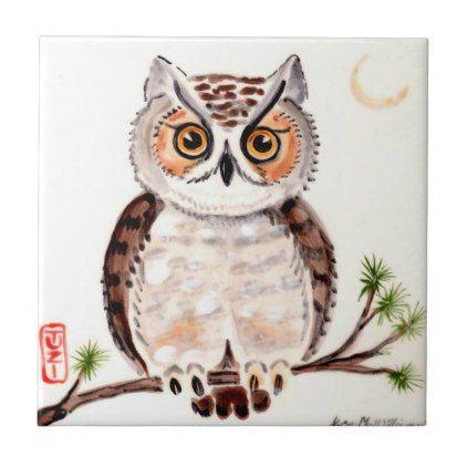 Owl On Branch With Moon Woodland Minimal Art Tuzi Ceramic Tile Zazzle Com Owl Pottery Painted Rocks Owls Rock Crafts