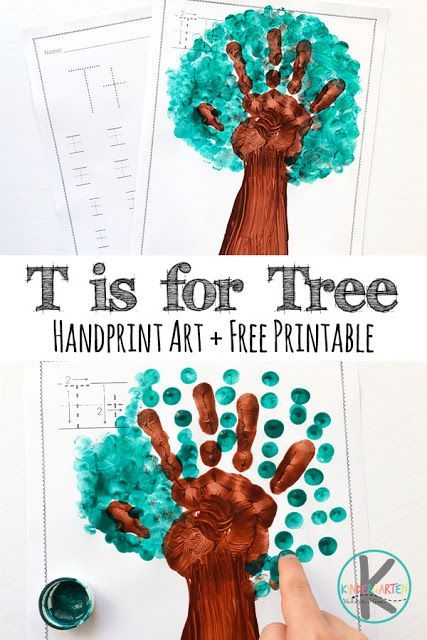 T Is For Tree Hand Art Project Hand Art Projects Letter T