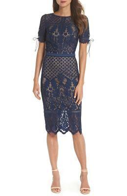Tadashi Shoji Designer Tie Sleeve Lace Sheath Dress Women