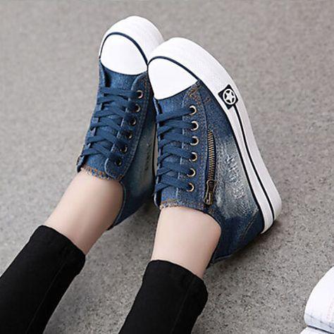 a2154a8129 Mulheres Jeans Primavera   Verão   Outono Conforto Salto Plataforma Ziper    Cadarço Azul Escuro