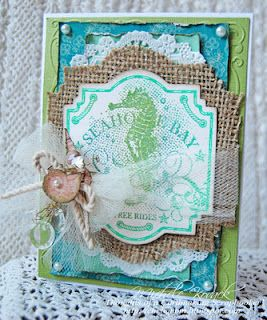 Used a @JustRite Stampers Seashell Bay stamp, and various colors of ColorBox inks.  I embossed it with clear embossing powder and cut out the image using @Spellbinders Labels Twenty-Two.