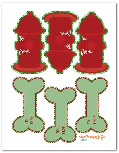 Free Printable Dog Gift Tags   Fun fire hydrant and bone shaped holiday gift tags for dogs. Free and instant download.