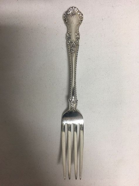"No Monograms Wallace Sterling Silver Rose Point 6 3//8/"" Salad Fork"