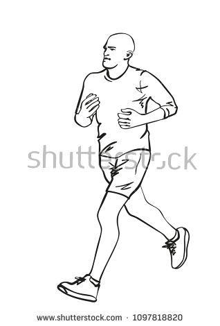Sketch Of Running Man Hand Drawn Vector Linear Illustration How To Draw Hands Hand Drawn Vector Running Man
