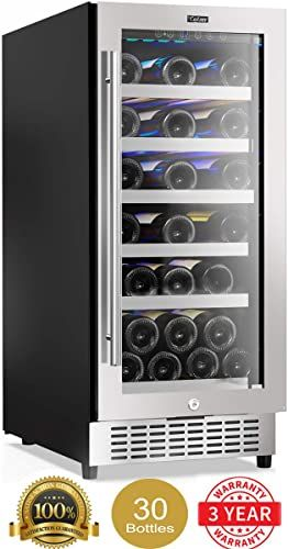 Best Seller Colzer 15 Inch Wine Cooler 30 Bottle Wine Fridge Refrigerators Small Wine Chiller Built In Under Counter Freestanding Mini Wine Cooler Refrigerator In 2020 Small Refrigerator Wine Chiller Wine Fridge