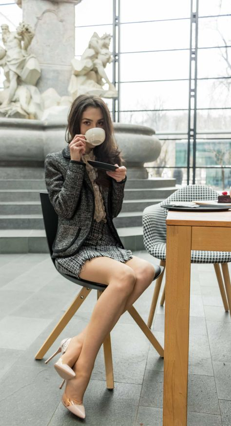 0c4d456f1 Fashion Blogger Veronika Lipar of Brunette from Wall Street sharing what to  wear for afternoon tea