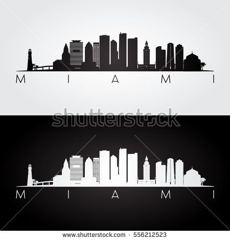 Miami Usa Skyline And Landmarks Silhouette Black And White Design Vector Illustration Miami Skyline Skyline Tattoo Miami Tattoo