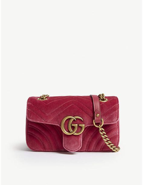 01200a9158e4 Gucci Ladies Raspberry Pink Gg Marmont Heart-Embroidered Velvet Shoulder Bag
