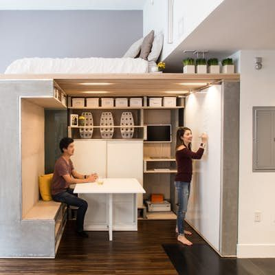 Multi Functional Space Saving Loft Squeezed Into Small San Francisco Condo Small Apartment Design Tiny Studio Apartments Studio Apartment Design