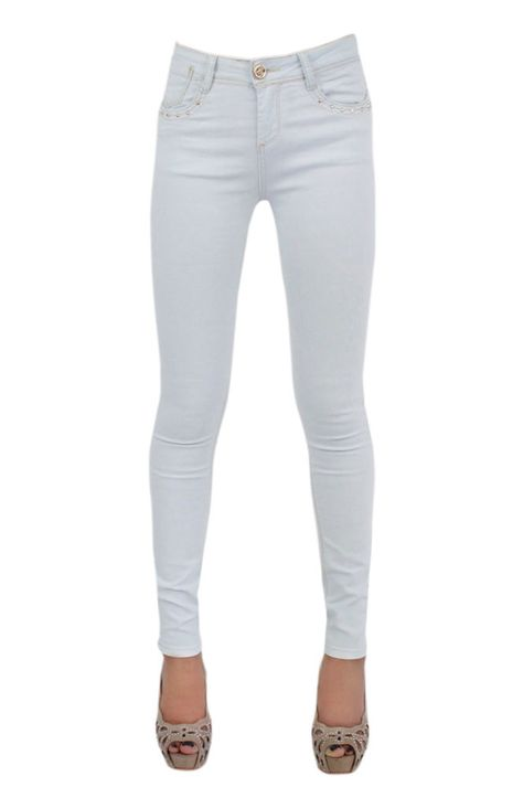 Women Front Studded Denim Jeans Ladies Skinny Fitted Faded Stretch Pants Trouser