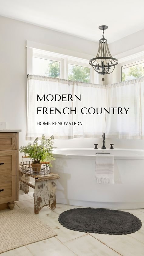 Modern French Country Home Renovation French Country Decor French Country House, Country Bathroom, Modern Country, Country Decor, Modern French Country, Home Renovation, Country Bedroom, Country House Decor, French Country Kitchens