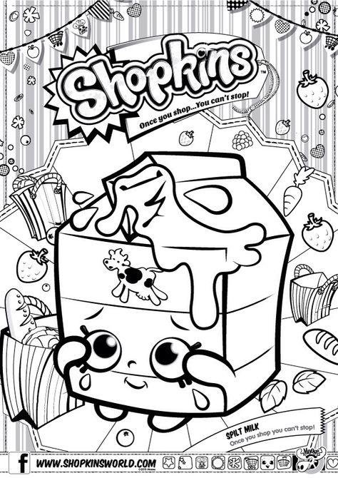 Shopkins Colour Color Page Spilt Milk Shopkinsworld Com Imagens