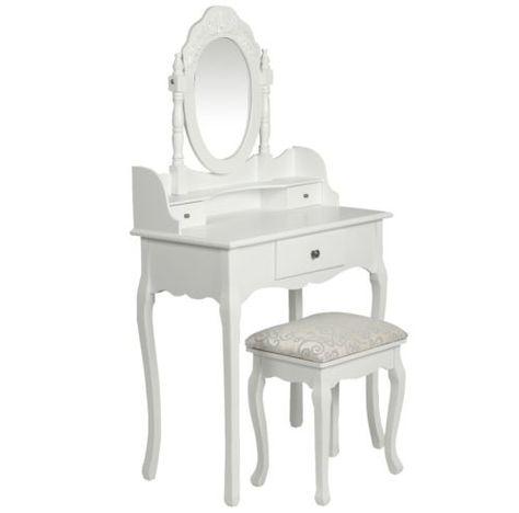 Coiffeuse bois blanche miroir tabouret 1401006 Coiffeuse Pinterest - meuble coiffeuse avec miroir pas cher