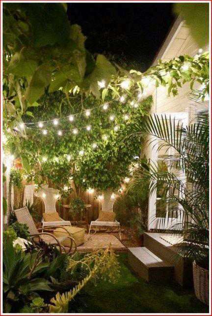 14 Inspiring Backyard Lighting Ideas 00010 In 2020 Small Courtyard Gardens Small Garden Design Romantic Backyard