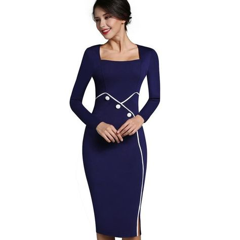 0d9f2730746a Nice-forever Vintage Mature Elegant Work Button Patchwork Long Sleeve Square -Neck Bodycon Women Office Pencil Dress B353