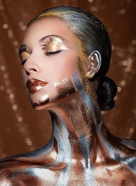 Create this futuristic fantasy look with Graftobian Metal Mania Kit from Camera Ready Cosmetics. ($12.99) MUA: Felix Shtein
