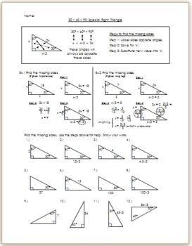 Special Right Triangles Special Right Triangles Special Right Triangle Right Triangle Triangle Worksheet