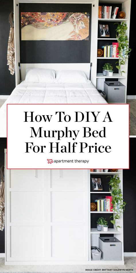 Before and After: A DIY Murphy Bed for a Third of the Cost of Store-Bought - diy furniture plans Build A Murphy Bed, Murphy Bed Ikea, Murphy Bed Plans, Murphy Bed Office, Murphy Bed With Couch, Murphy Furniture, Best Murphy Bed, Pipe Furniture, Furniture Projects