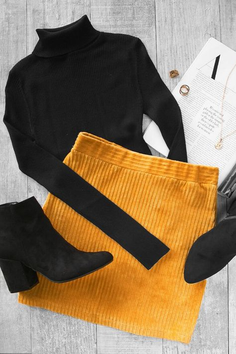 The new Talk to Me Skirt in Mustard is so cute with a black turtleneck and black booties! This suede skirt has a velvet look to it, which is perfect for fall and winter skirt outfits. Comfy, stretchy and so flattering! skirt Talk To Me Mustard Mini Skirt