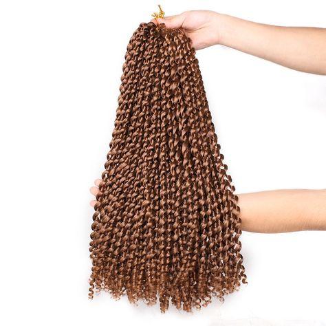18 inch Passion Twist Hair Water Wave Braiding Hair Butterfly Locs Crochet Braids Synthetic Natural Braid Hair - 30# / 2 Pcs