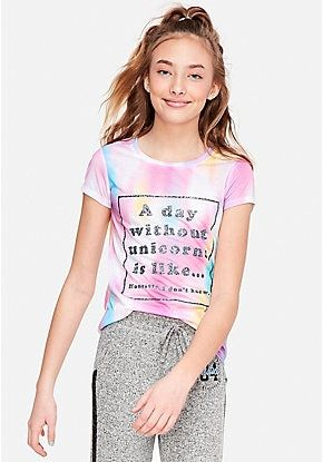 Girls' Graphic Tee Shirts - Trendy, Funny & Cute Styles | Justice | Girls  graphic tee, Justice leggings, Little girl models