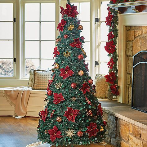 Improvements Burgundy Pull Up Christmas Tree 6 1 2 100 Liked On Polyvore Featuring Home Pre Lit Christmas Tree Pull Up Christmas Tree 6ft Christmas Tree