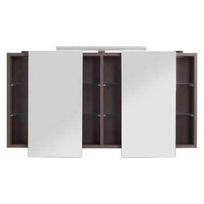 Armoire Miroir Decor Chene Fume Cooke Lewis Calao 120 Cm Armoire Miroir Lumineux Et Armoire De Toilette