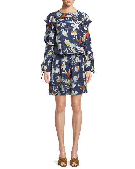 34047c195a325 Raquel Long-Sleeve Floral-Print Silk Dress | Style Ideas | Silk ...