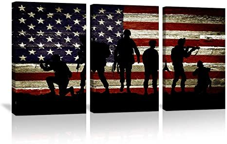 American Flag Wall Art American Soldier Military Wall Decor 3 Panels Painting Independence Day T American Flag Wall Art Canvas Picture Frames American Flag Art