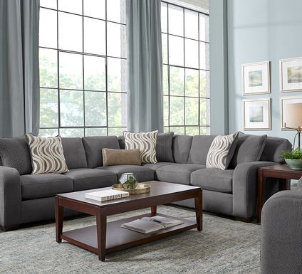 Cindy Crawford Home Metropolis Way Steel Microfiber 3 Pc Sectional In 2021 Living Room Sectional Living Room Sets Furniture Chaise Lounge Living Room