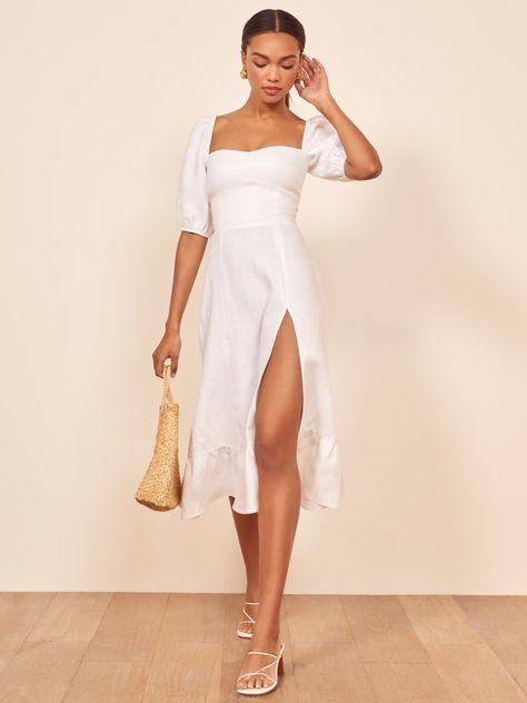 Lantern Sleeve Vintage Square Collar Slim A-line White Midi Dress Chic Dress, Boho Dress, Dress Up, Midi Dress Outfit, White Midi Dress, White Dress Summer, Midi Summer Dresses, White Dresses For Women, Mode Vintage
