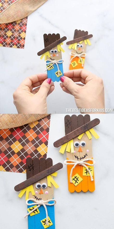 Popsicle Stick Scarecrow - make these adorable popsicle stick scarecrows! Such a fun and easy craft for kids for Halloween!