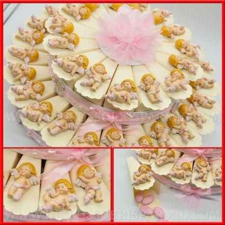 Torta Di Bomboniere Con Calamite Battesimo Angelo Rosa Per Bimba Economiche Idee Originali Bomboniere Torte Battesimo