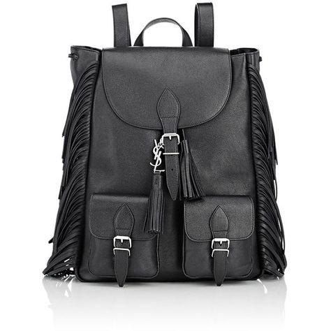 Saint Laurent Festival Backpack featuring polyvore fashion bags backpacks black knapsack bags rucksack bag full grain leather bag yves saint laurent black bag