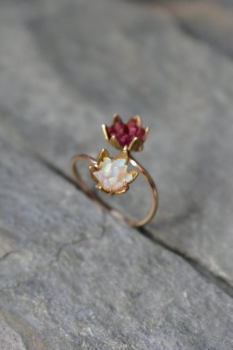 Unique Opal Ring, Lotus Flower Ring & Yellow Gold, Uncut Gemstone Engagement Ring, Red and Pink Rose Floral Ring Women, Custom Mothers Ring - women gold rings