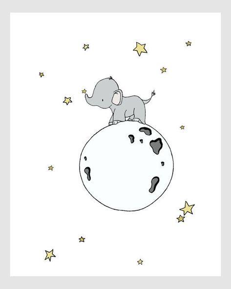 Lámina Elephant Nursery - Elephant Moon Walk - Nursery Art - Kids Wall Art - Children Art