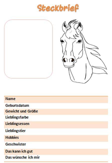 Steckbrief Vorlage Fur Madchen Mit Pferd Steckbrief Brief Pferde Steckbrief