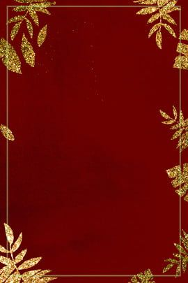 Pink Maple Leaf Gold Frame Simple Style Background Red And Gold Wallpaper Gold Wallpaper Background Red Wallpaper