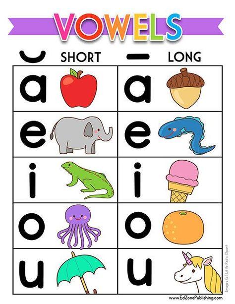 Long Vowel Worksheets, Short Vowel Activities, Phonics Worksheets, Phonics Activities, Kindergarten Worksheets, Teaching Kindergarten, Printable Worksheets, Printables, Teaching Vowels