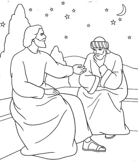 Bible Coloring Picture Nicodemus Bible Coloring Bible School