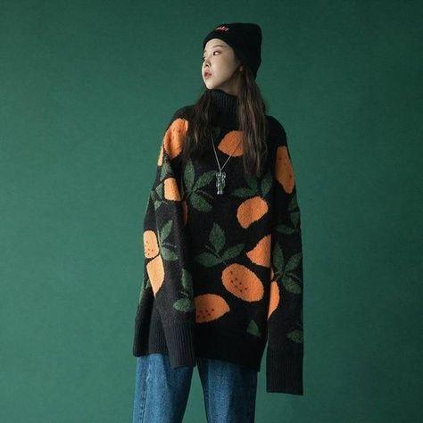 Korean Style Orange Oversized Knitted Sweater
