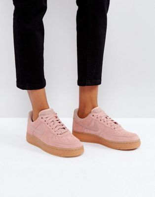 9e383b9fdd415 Nike Air Force 1 07 Trainers In Particle Pink Suede With Gum Sole ...