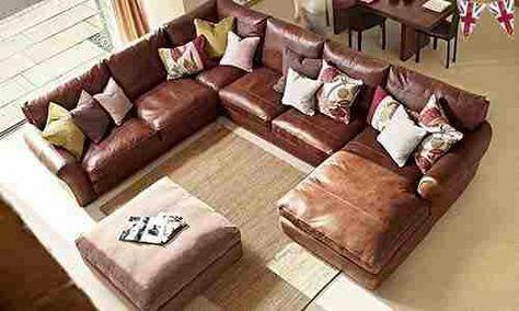 Vintage leather corner sofa