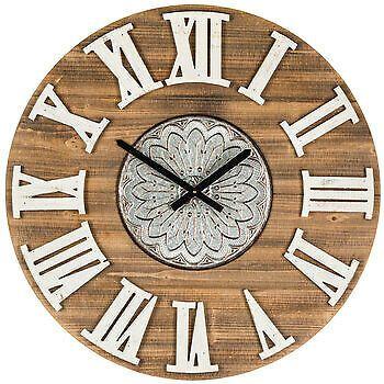 Floral Medallion Wood Wall Clock Ebay Rustic Wall Clocks Wall Clock Wood Wall Clock