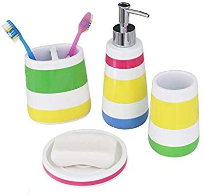 Amazon Com Hermosa Collection Colorful Striped Four Piece Kids Baby Bathroom Fun Accessori Kids Bathroom Accessories Kids Bathroom Sets Bathroom Accessory Set