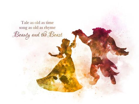 ART PRINT Beauty and the Beast Dance Quote illustration, Disney, Princess, Gift | eBay