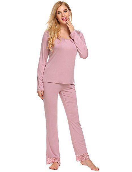 best sneakers bcdfb b0b0c Unibelle Damen Schlafanzug Pyjamas Set Langarm Nachtwäsche ...